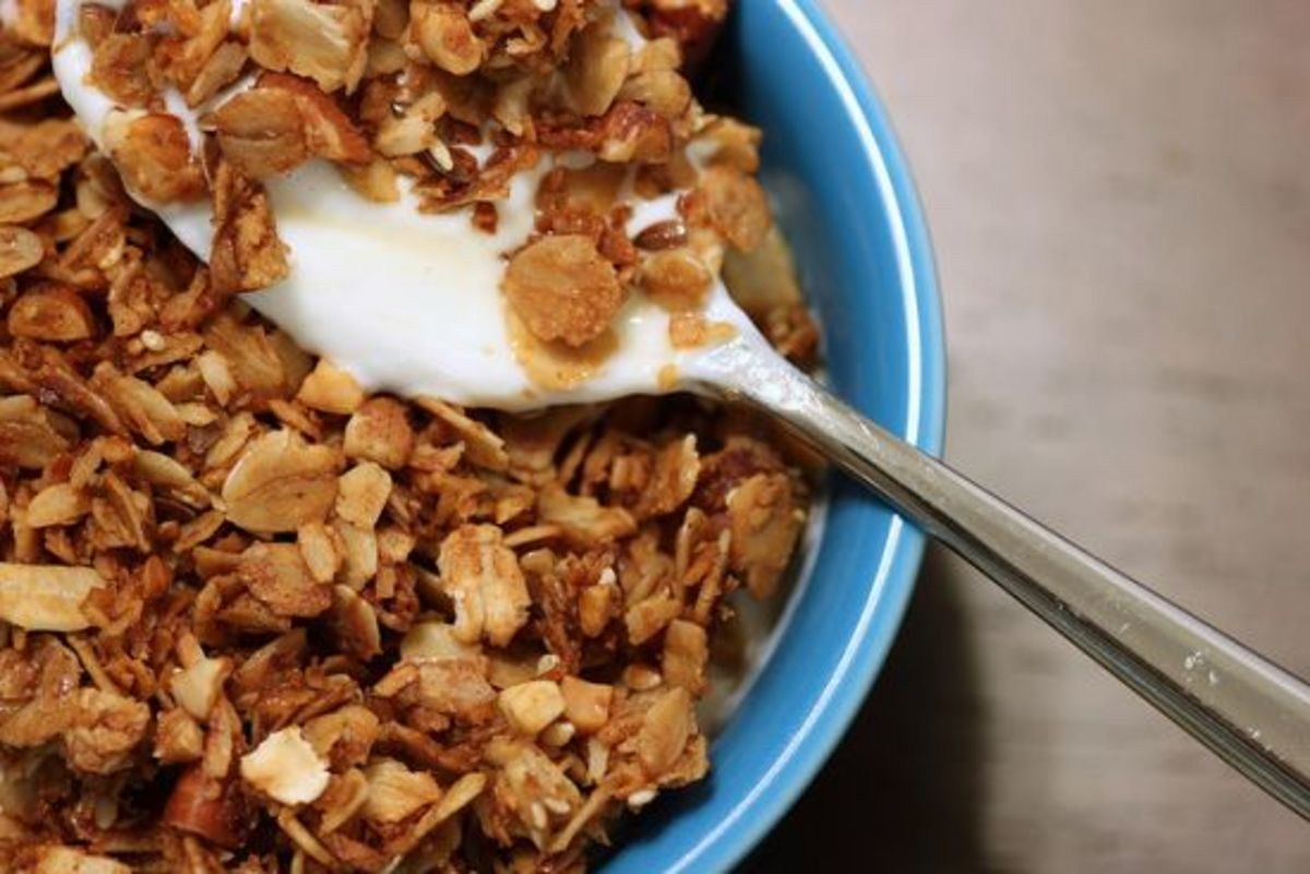 Homemade granola and homemade almond milk