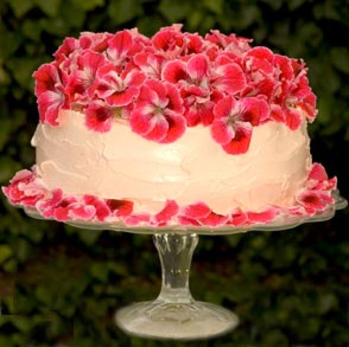 geraniums on cake
