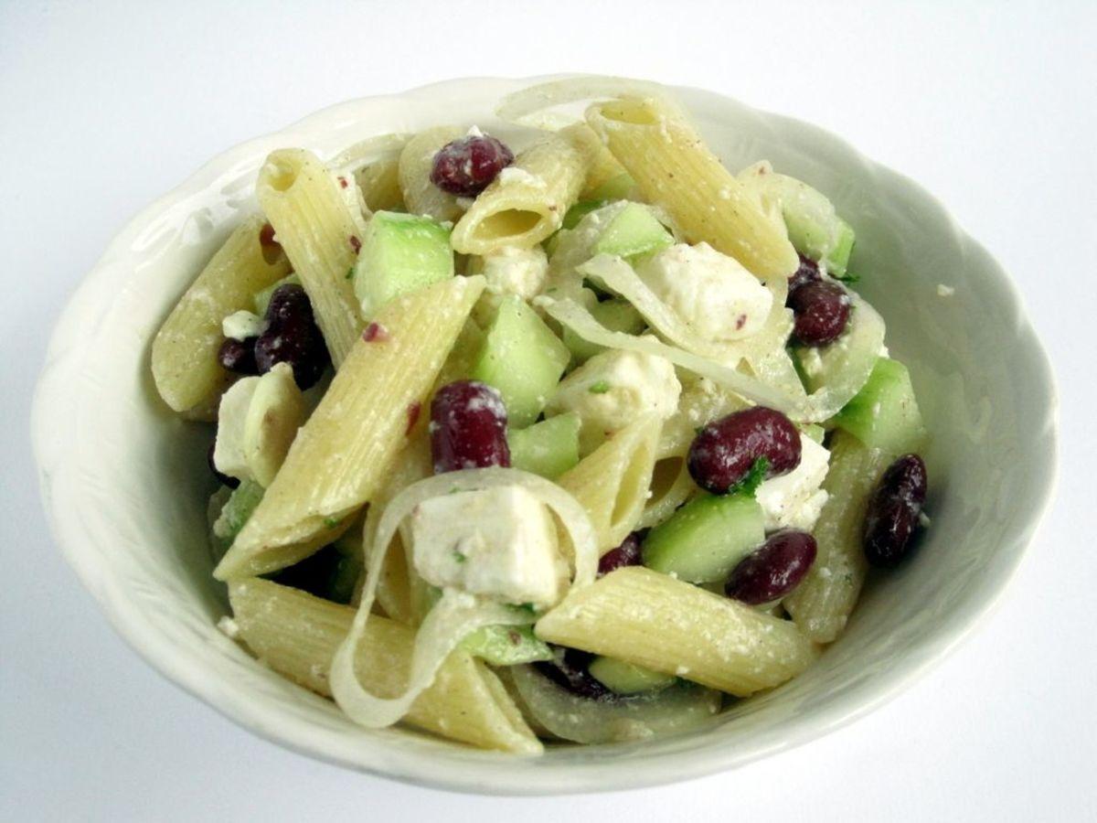 feta bean pasta salad