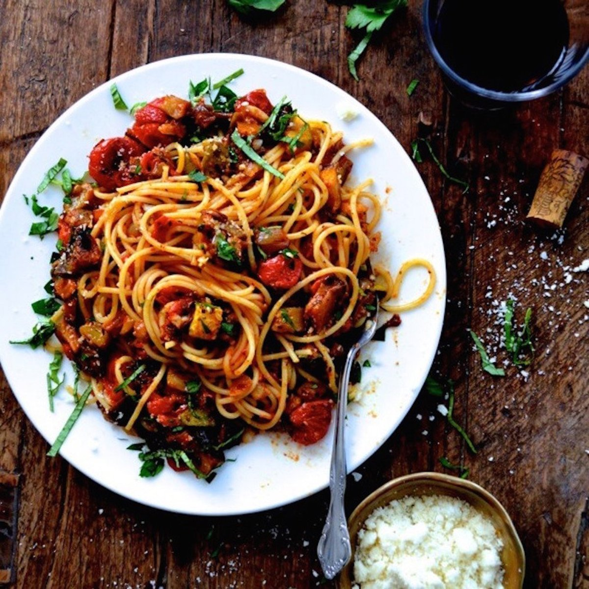 tomato recipes - ratatouille pasta