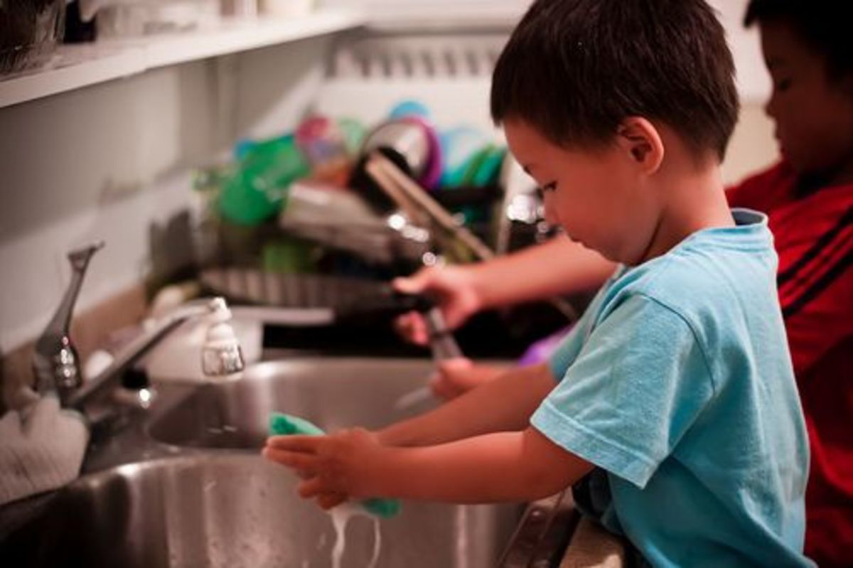 kids washing up