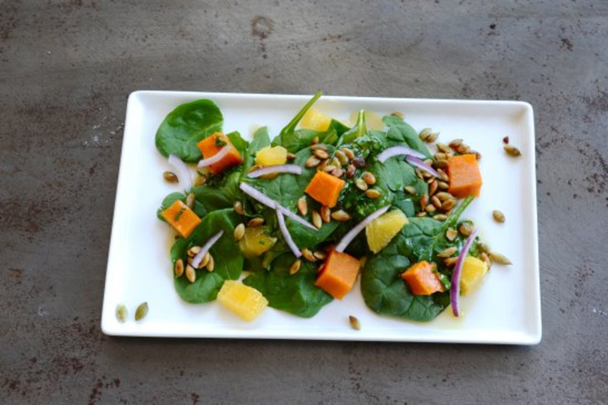 baked squash and spinach salad