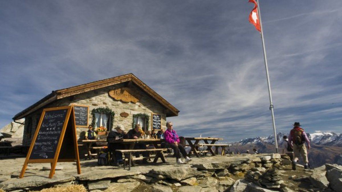 Swiss mountain hut dining