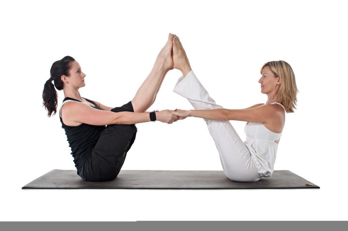 navasana, boat pose, partner yoga