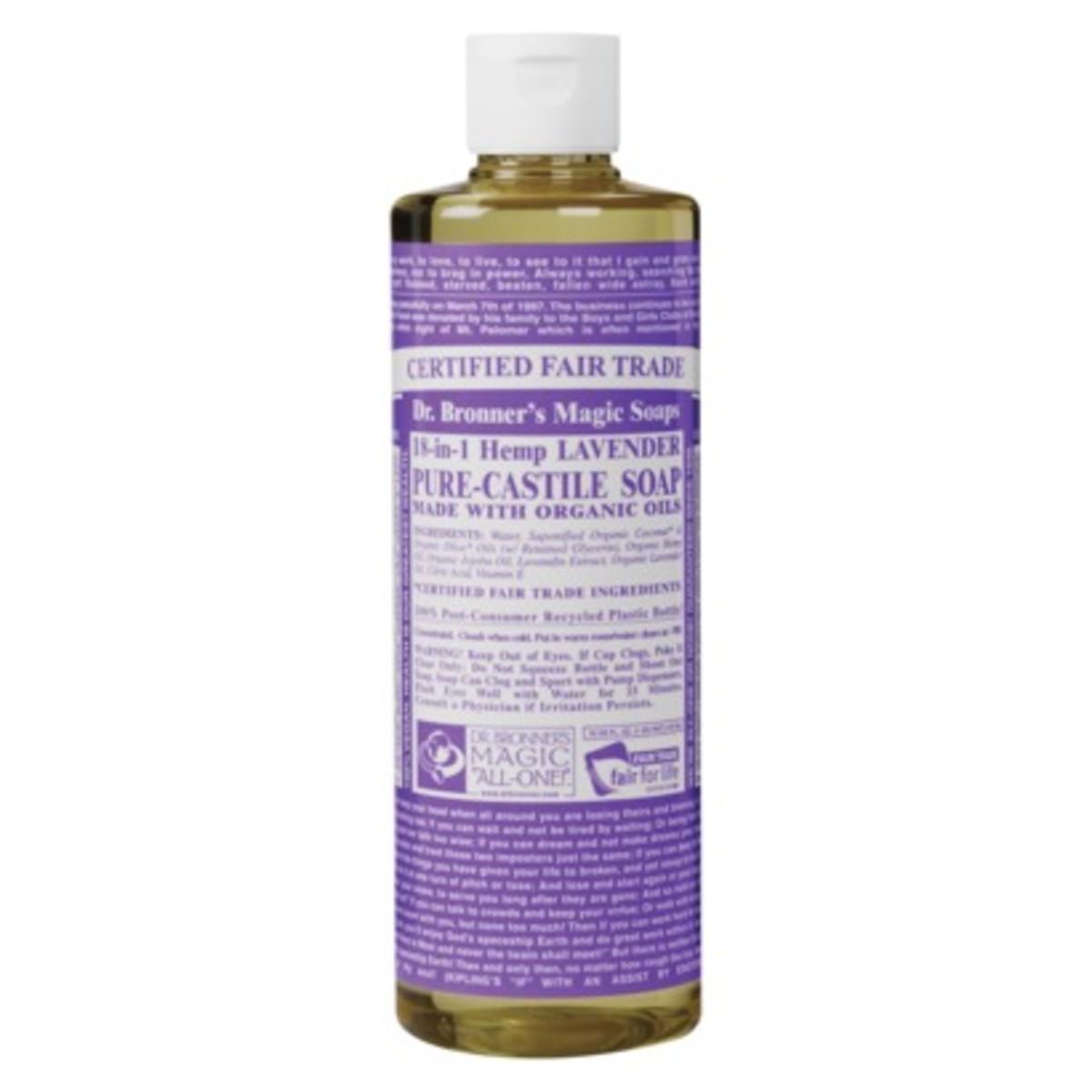 Organic soap in a bottle