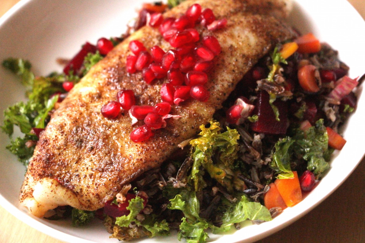 blackened cod with salad
