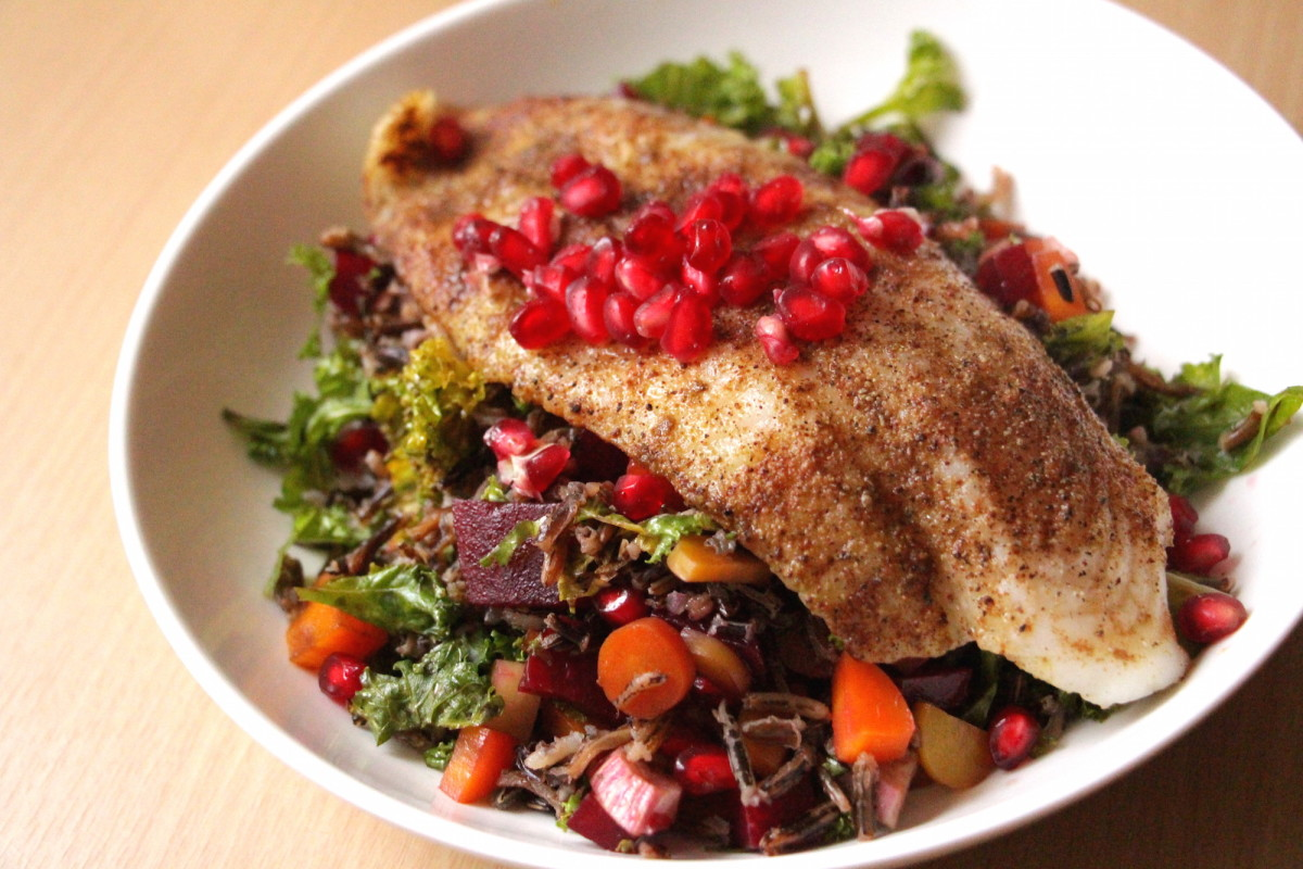 blackened fish with salad