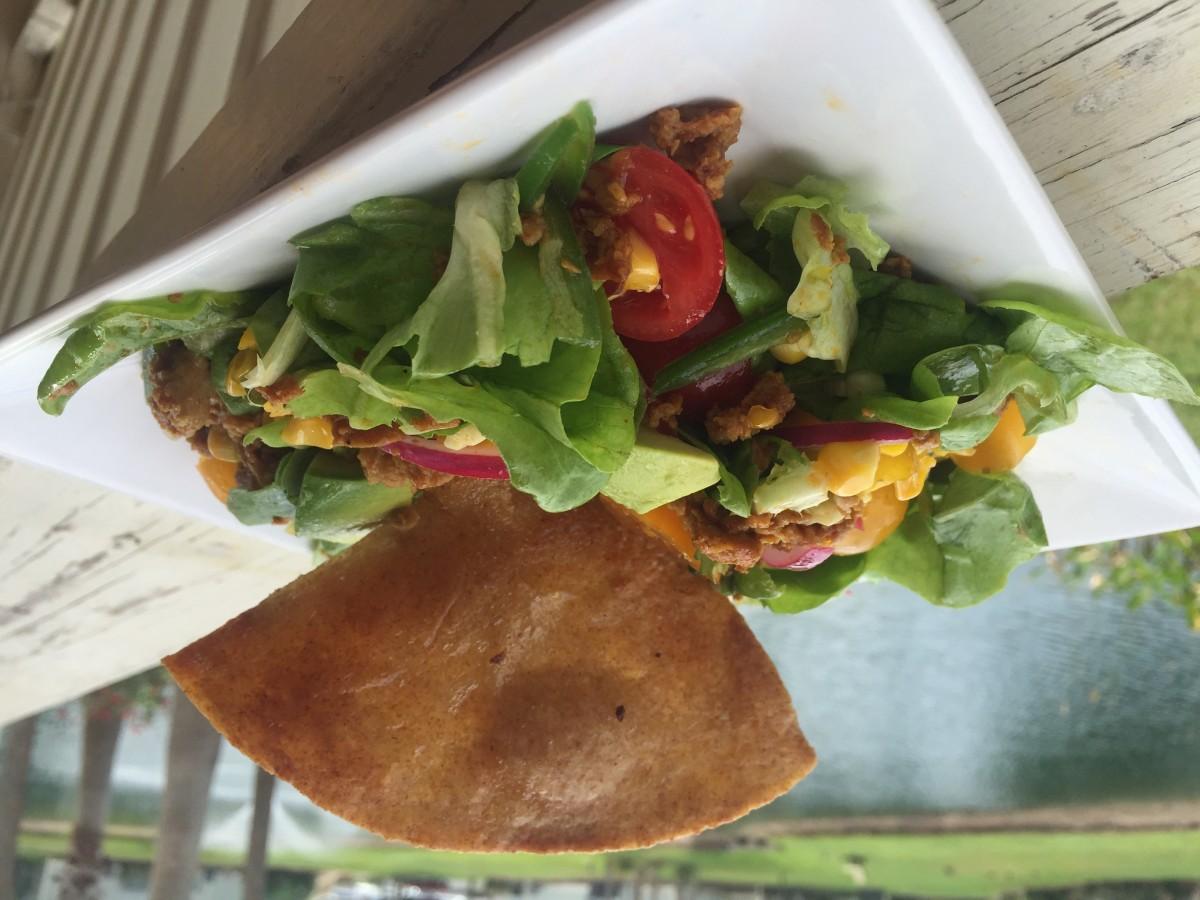 Vegan Seitan Taco Salad Recipe with a Cilantro Lime Vinaigrette