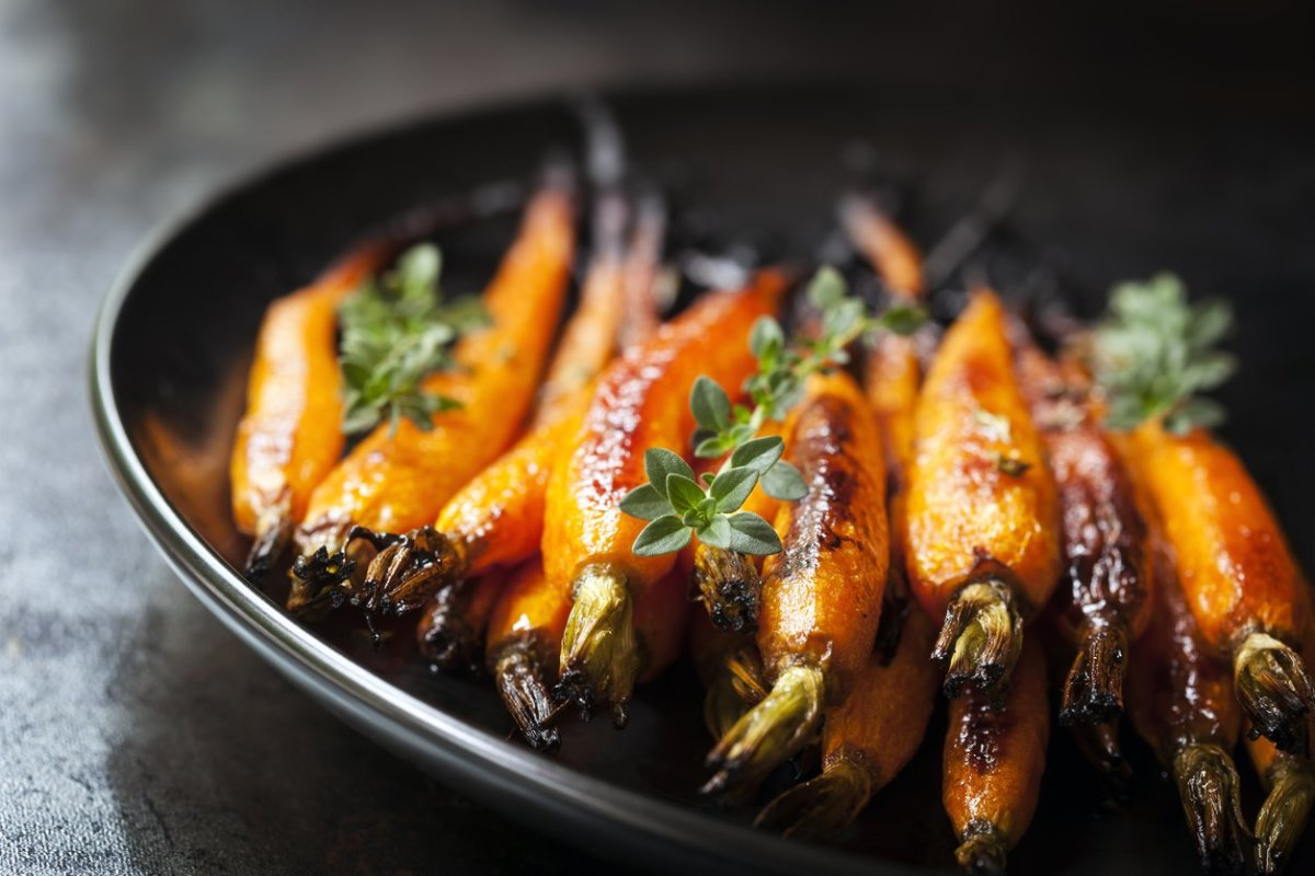 Citrusy Maple-Glazed Roasted Carrots with Vegan Cashew Cheese