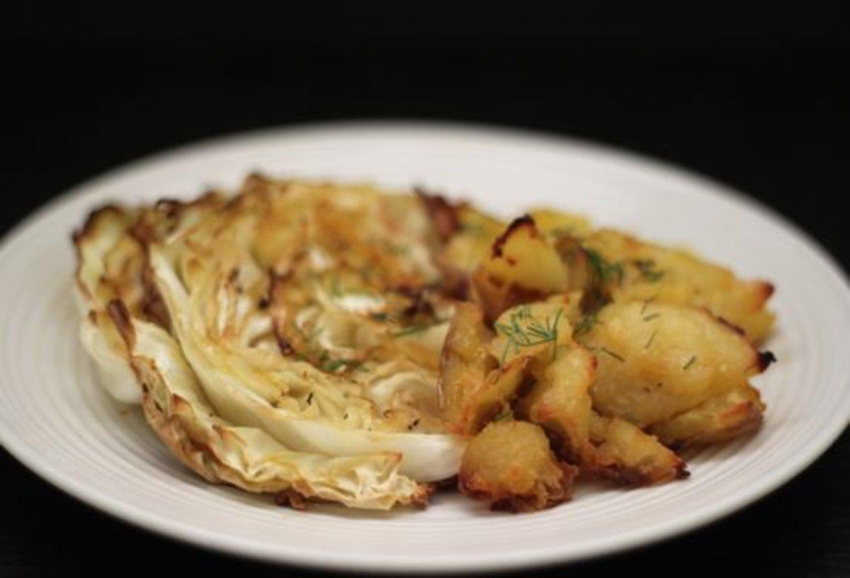 Crispy Cabbage & Smashed Potatoes