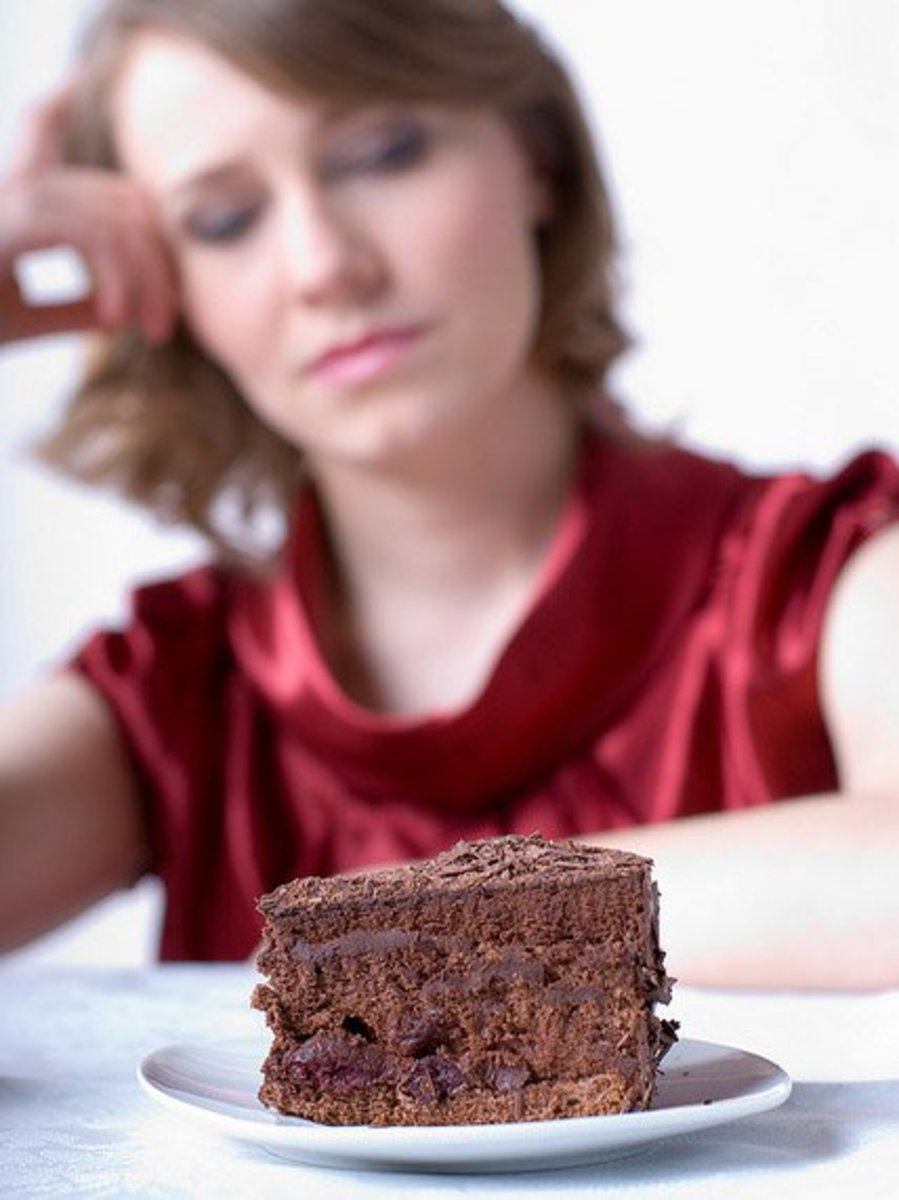Woman about to eat cake