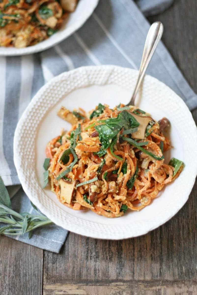 Sweet Potato Noodles with Chanterelles and Cashew Sage Sauce