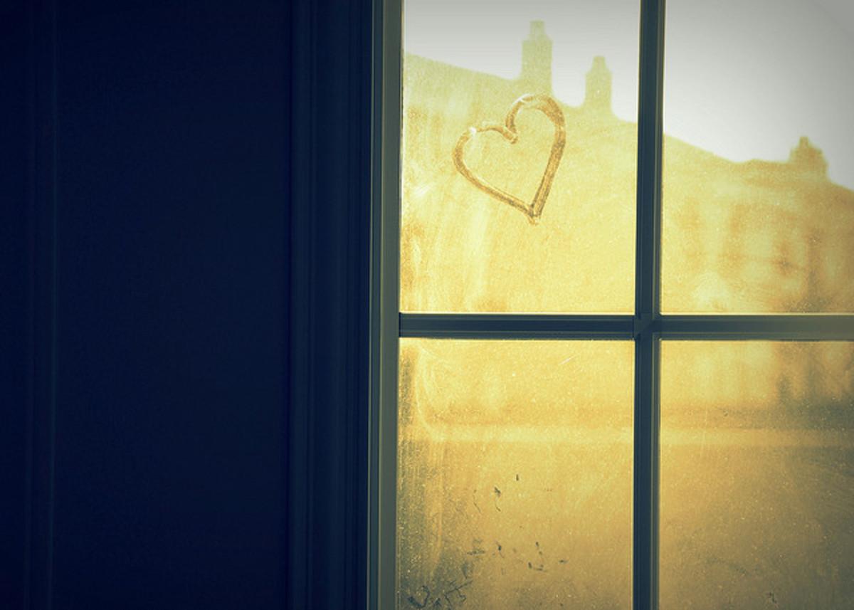 Heart shape drawn on a window