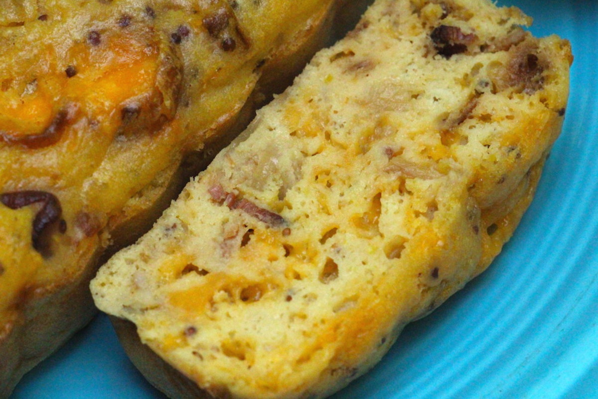 beer, cheddar and bacon cake