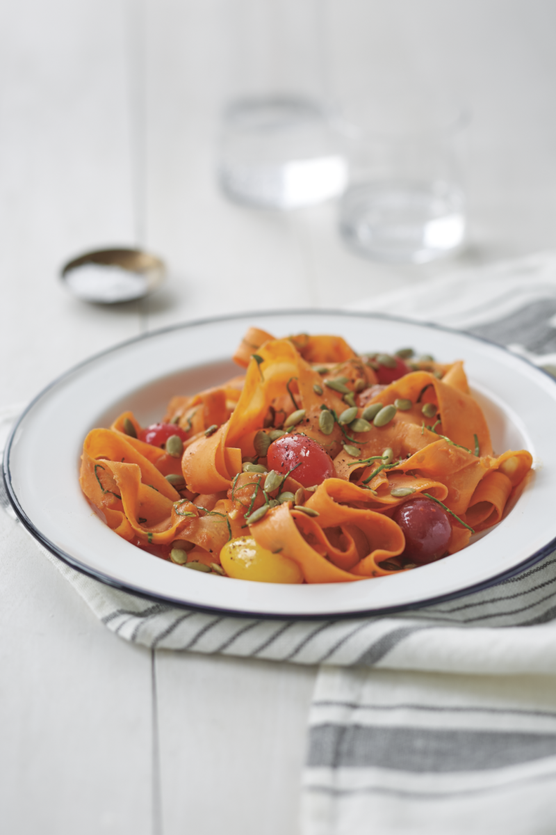"Coastal Carrot ""Fettuccine"" with Sun-Dried Tomatoes and Pumpkin Seeds"