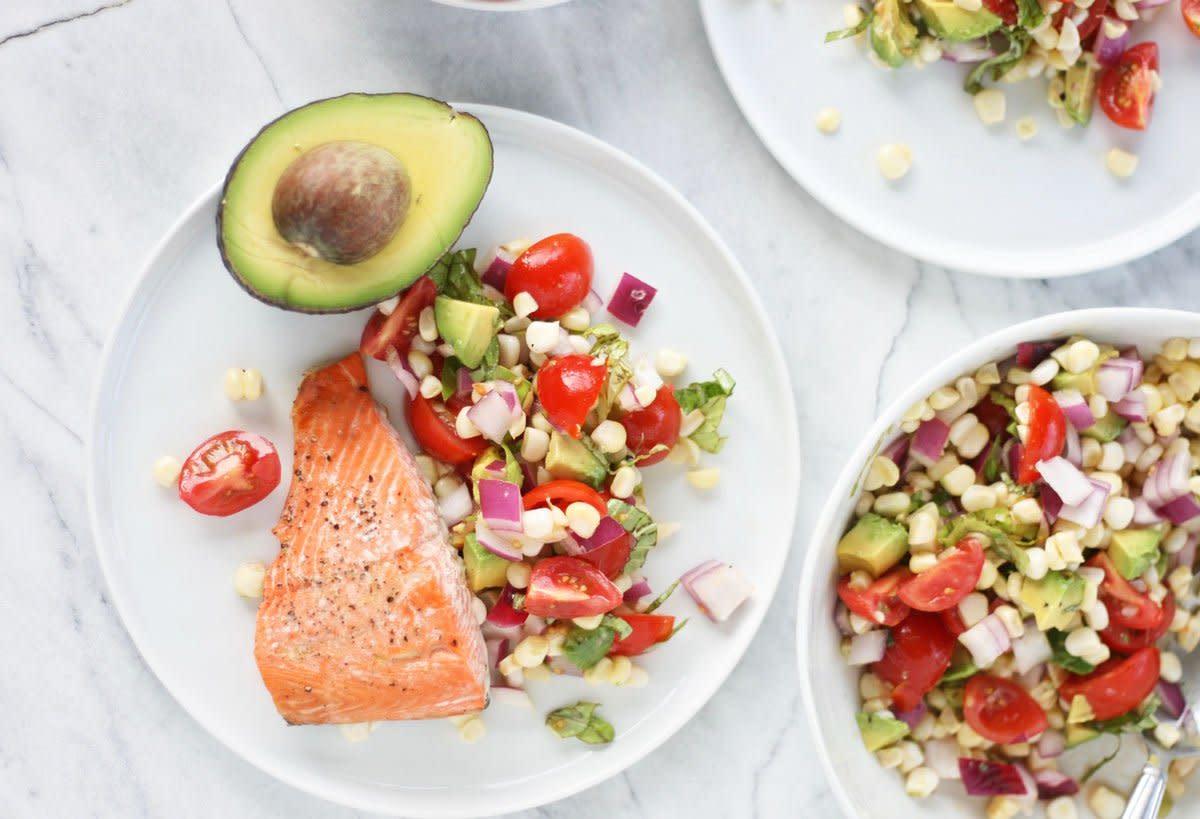 baked salmon, avocado, corn salad