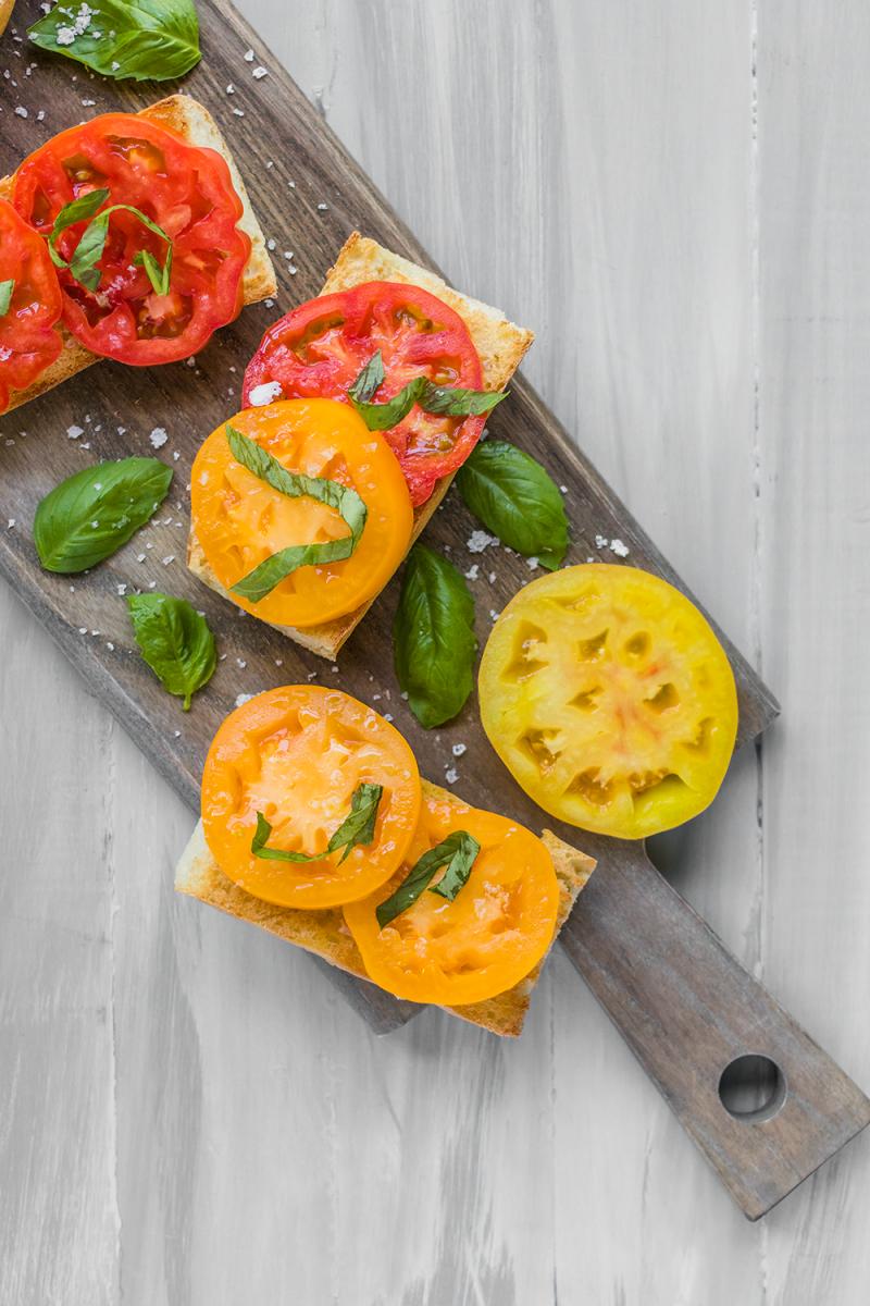 Heirloom Tomato Toast with Basil and Flaked Sea Salt