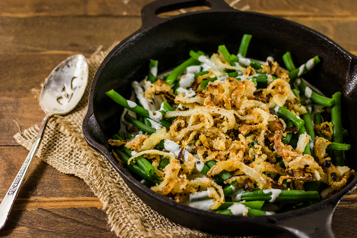 Green bean casserole gone healthy! This gluten-free vegan green bean casserole uses fresh ingredients to create a nourishing yet comforting Thanksgiving dish.