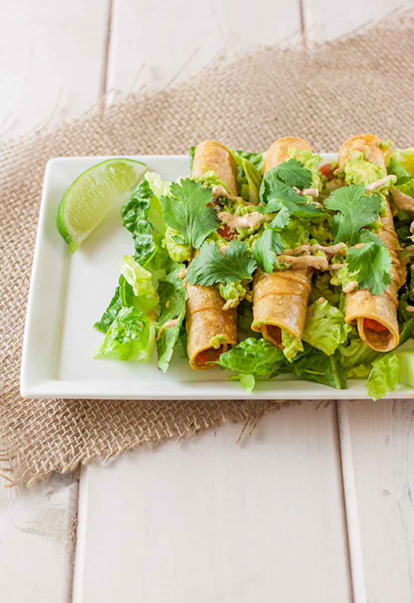 Healthy Vegan Sweet Potato Taquitos with Chipotle Mayo Recipe