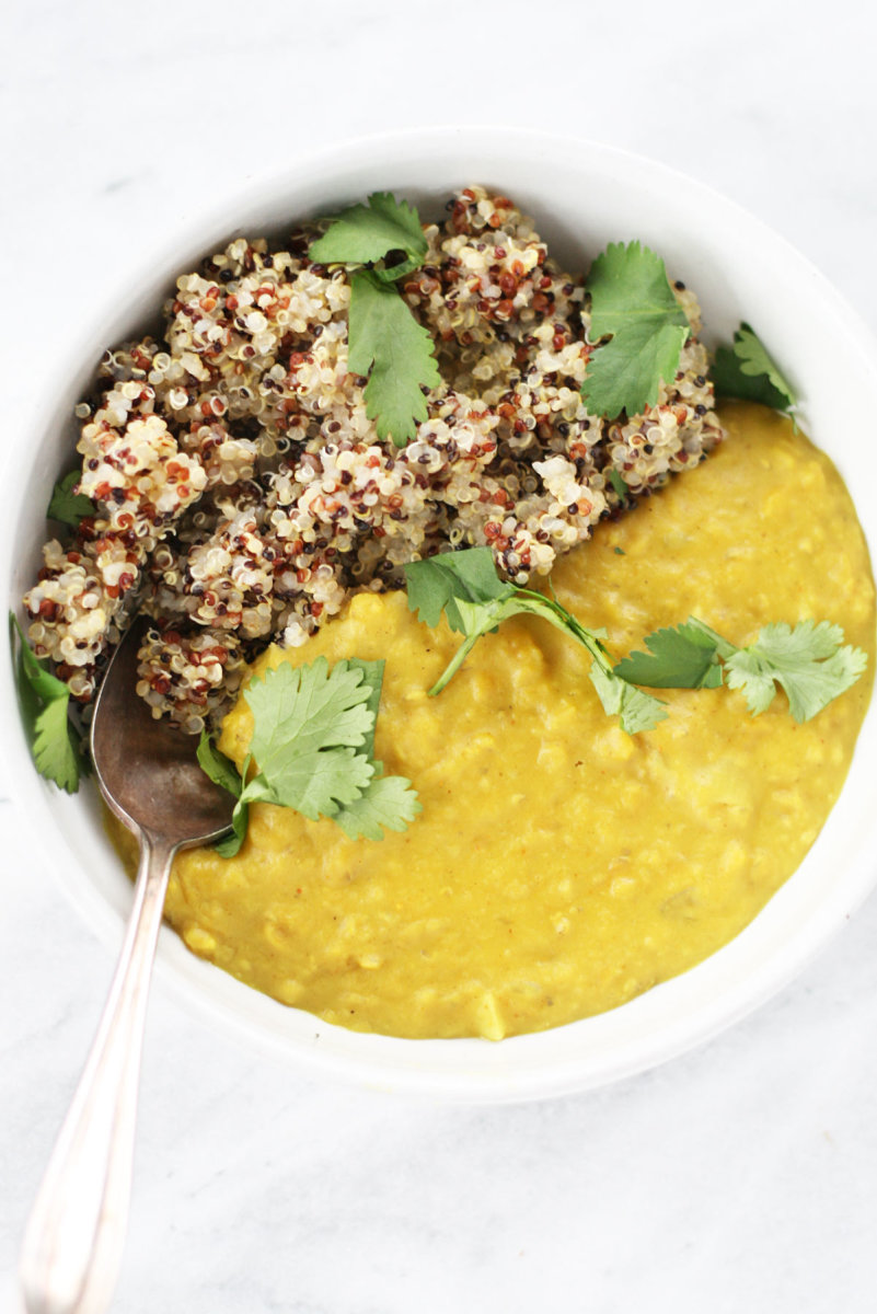 vegan red lentil dal with coconut milk and turmeric