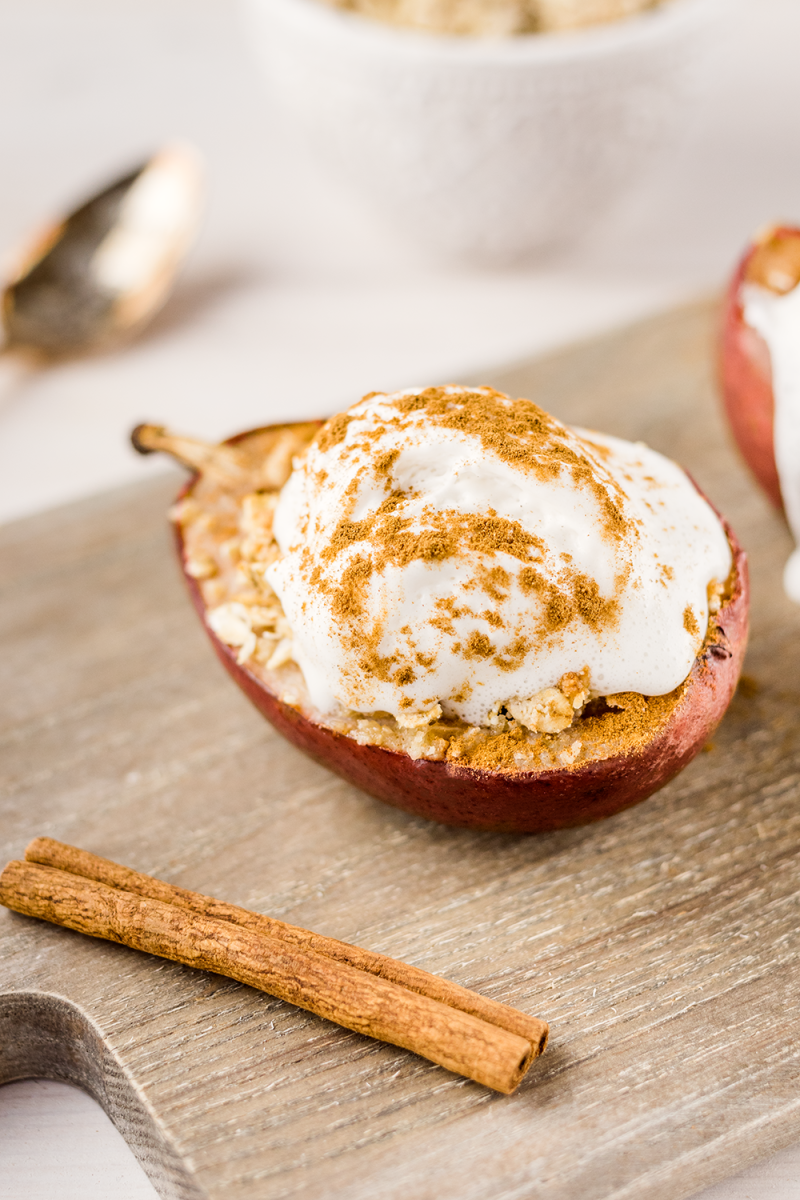 Vegan Baked Pears with an Gluten-Free Crumble and Coconut Whipped Cream