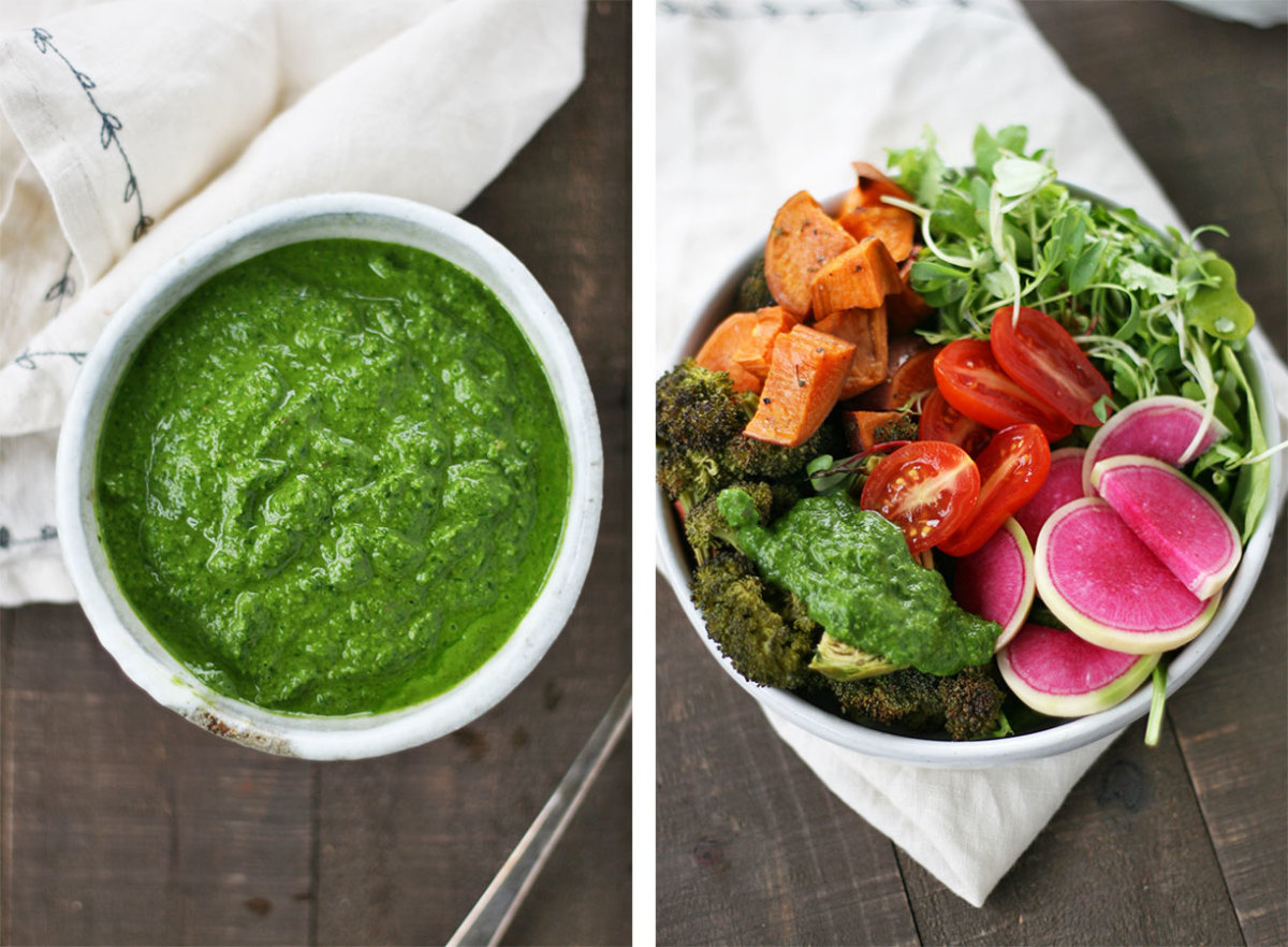 vegetable bowl with chimichurri sauce