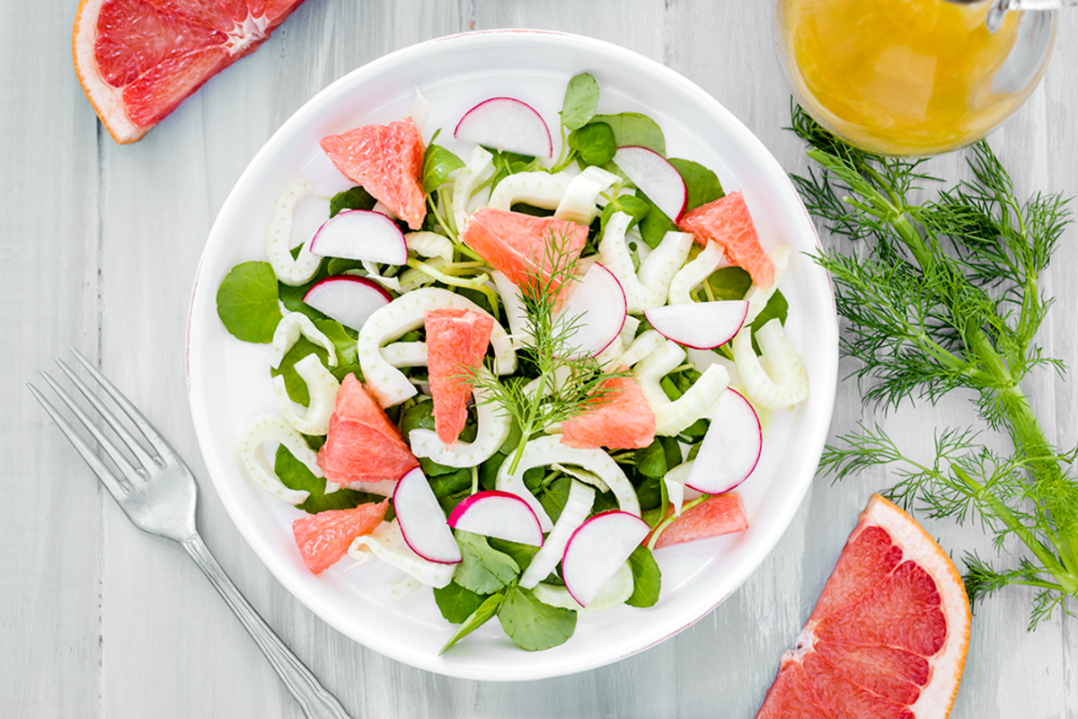 Vegan Fennel Salad with Grapefruit, Watercress, and Radishes