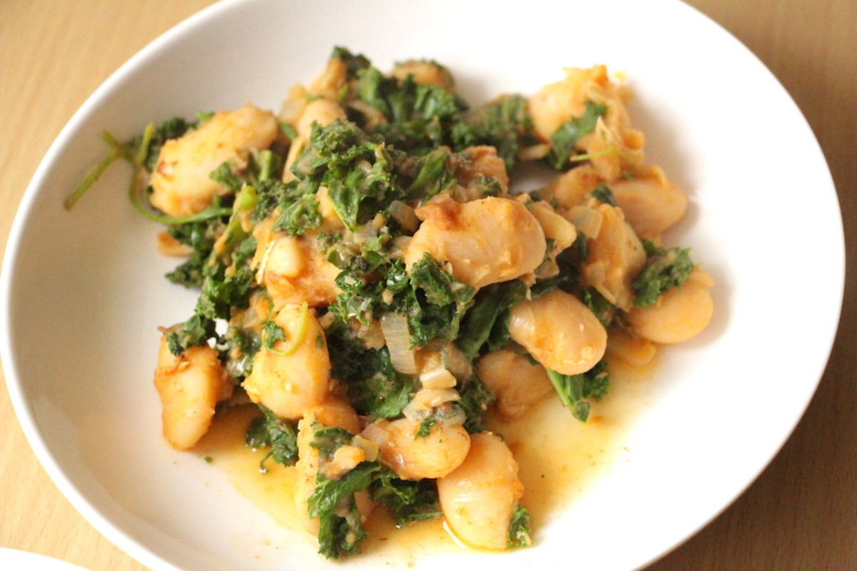 Jumbo White Bean Stew with Three Greens and Parmesan