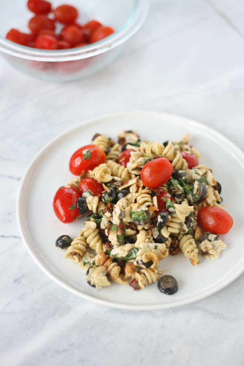 summer pasta with cherry tomatoes and olives