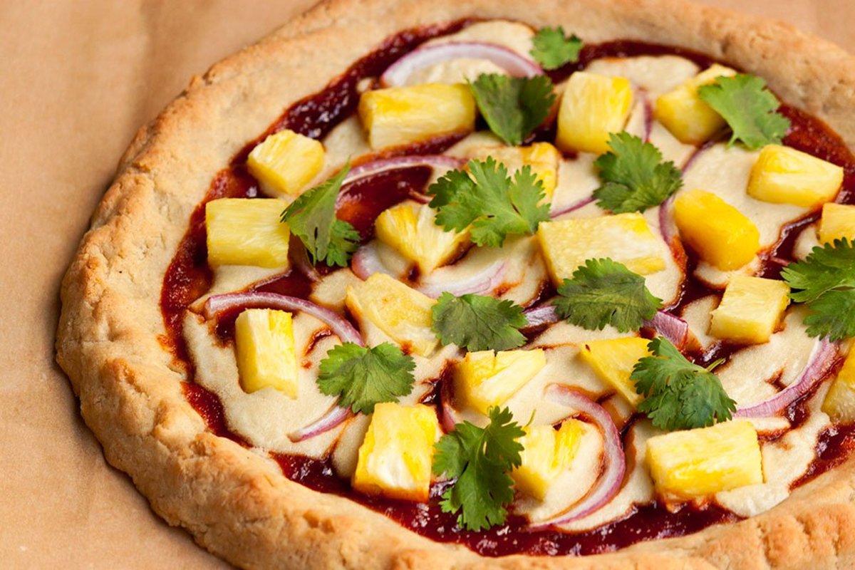 Vegan BBQ Pineapple Pizza on Gluten-Free Pizza Crust Recipe