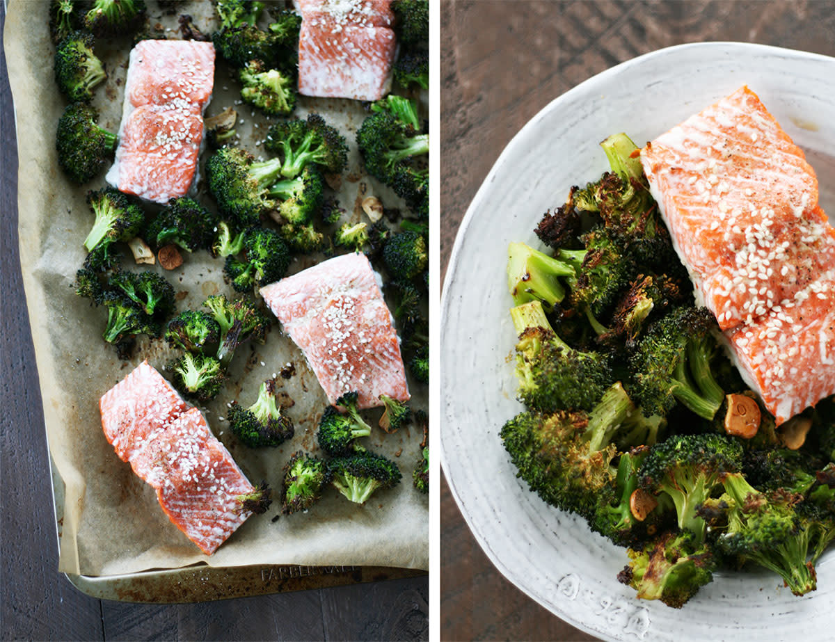 Asian Salmon with broccoli on sheet pan with parchment paper.