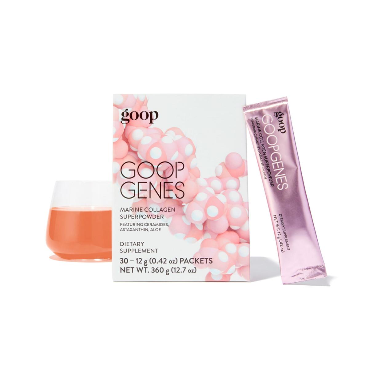 GoopGenes Marine Collagen Superpowderis designed to mix with water.