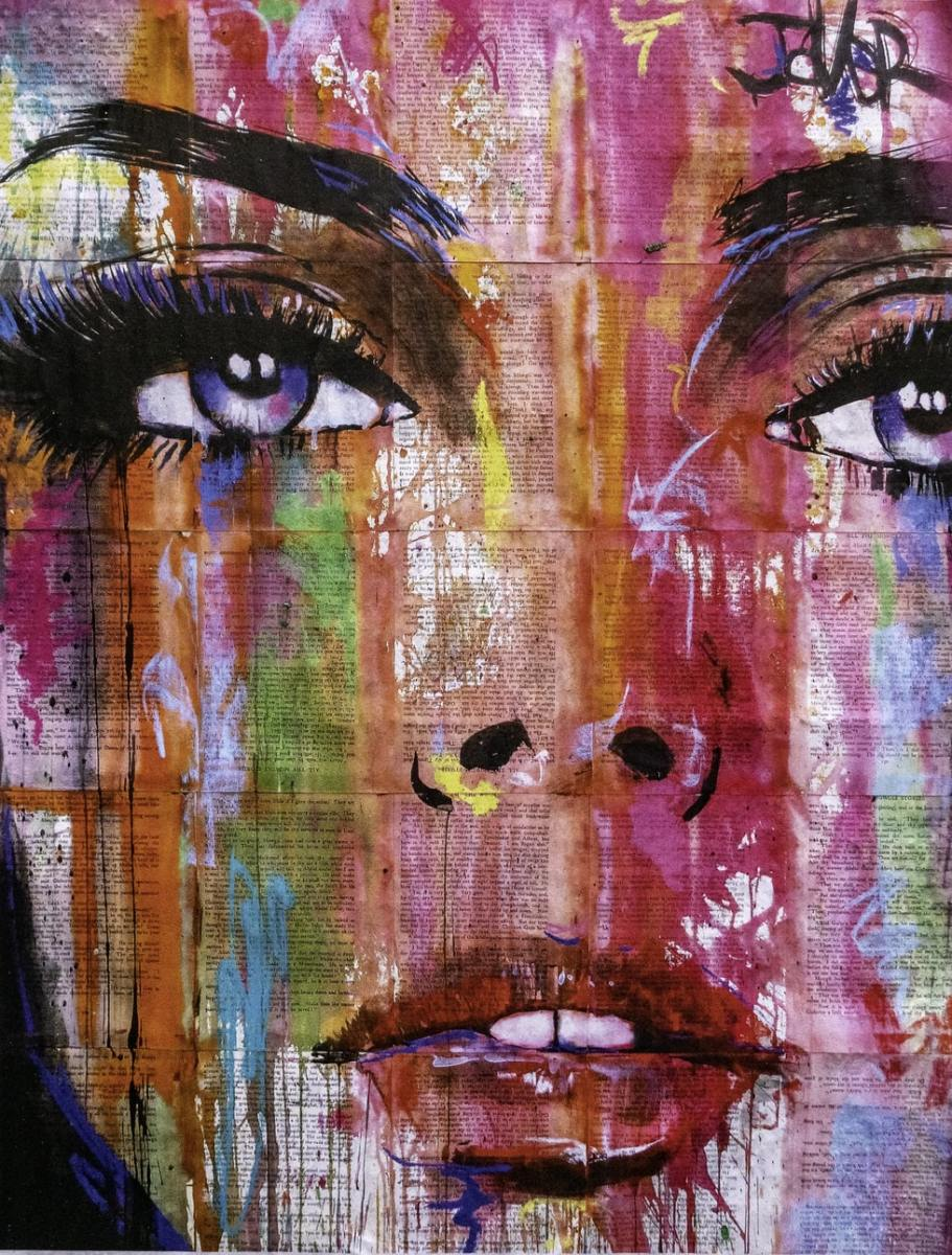 artwork painting of woman's face with water colors rolling down face