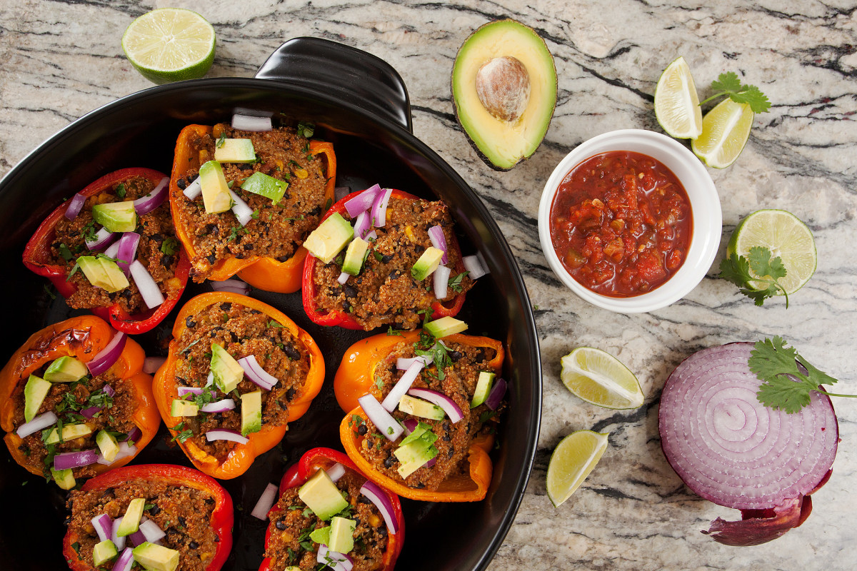 stuffed peppers in a pure ceramic skillet by Xtrema Cookware