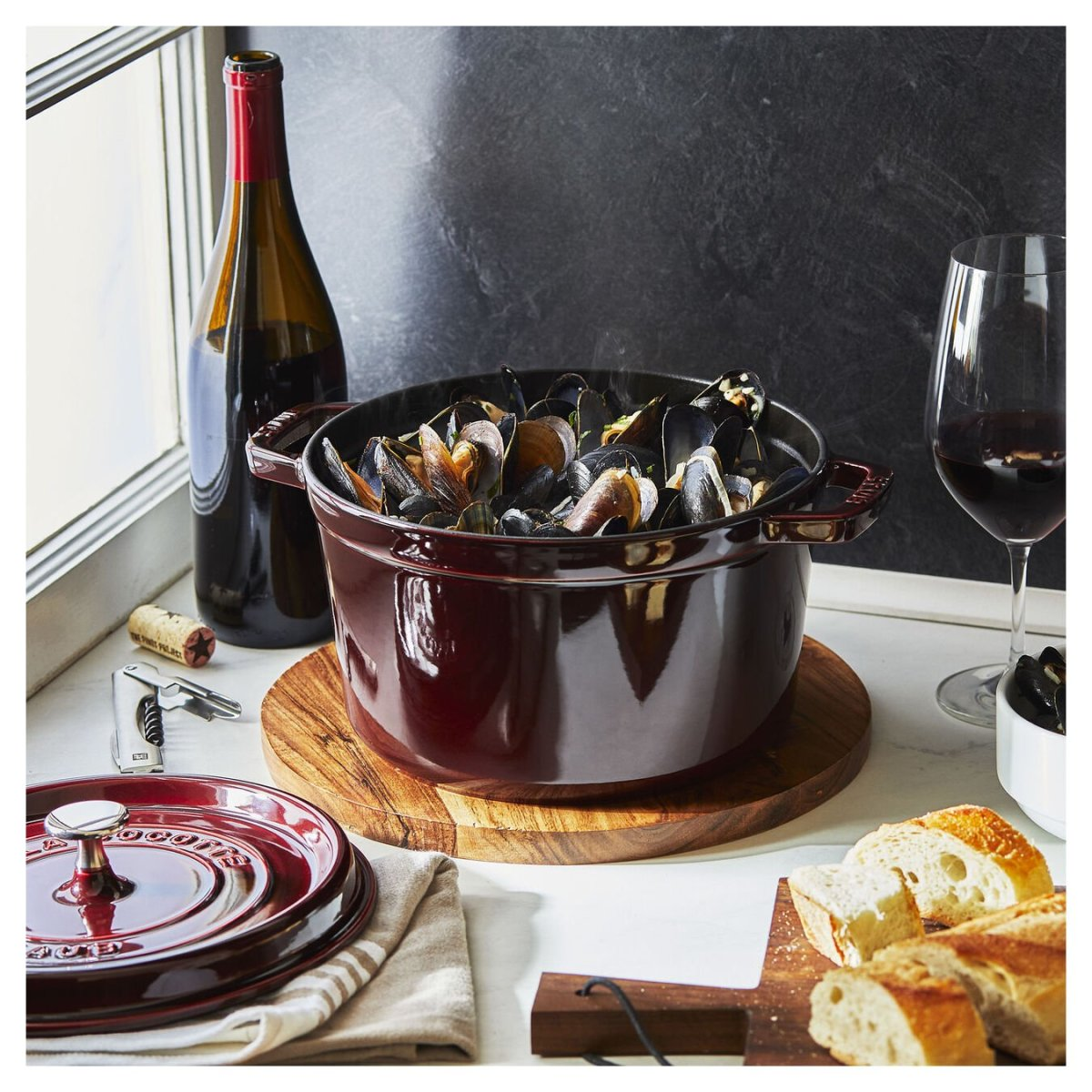Mussels in a Staub 5QT Tall Cocotte