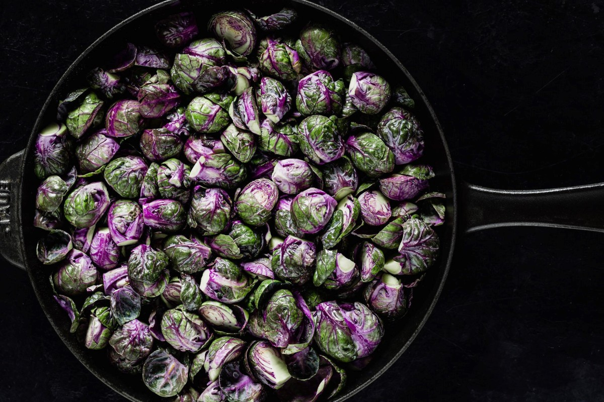 staub cast iron skillet with brussel sprouts