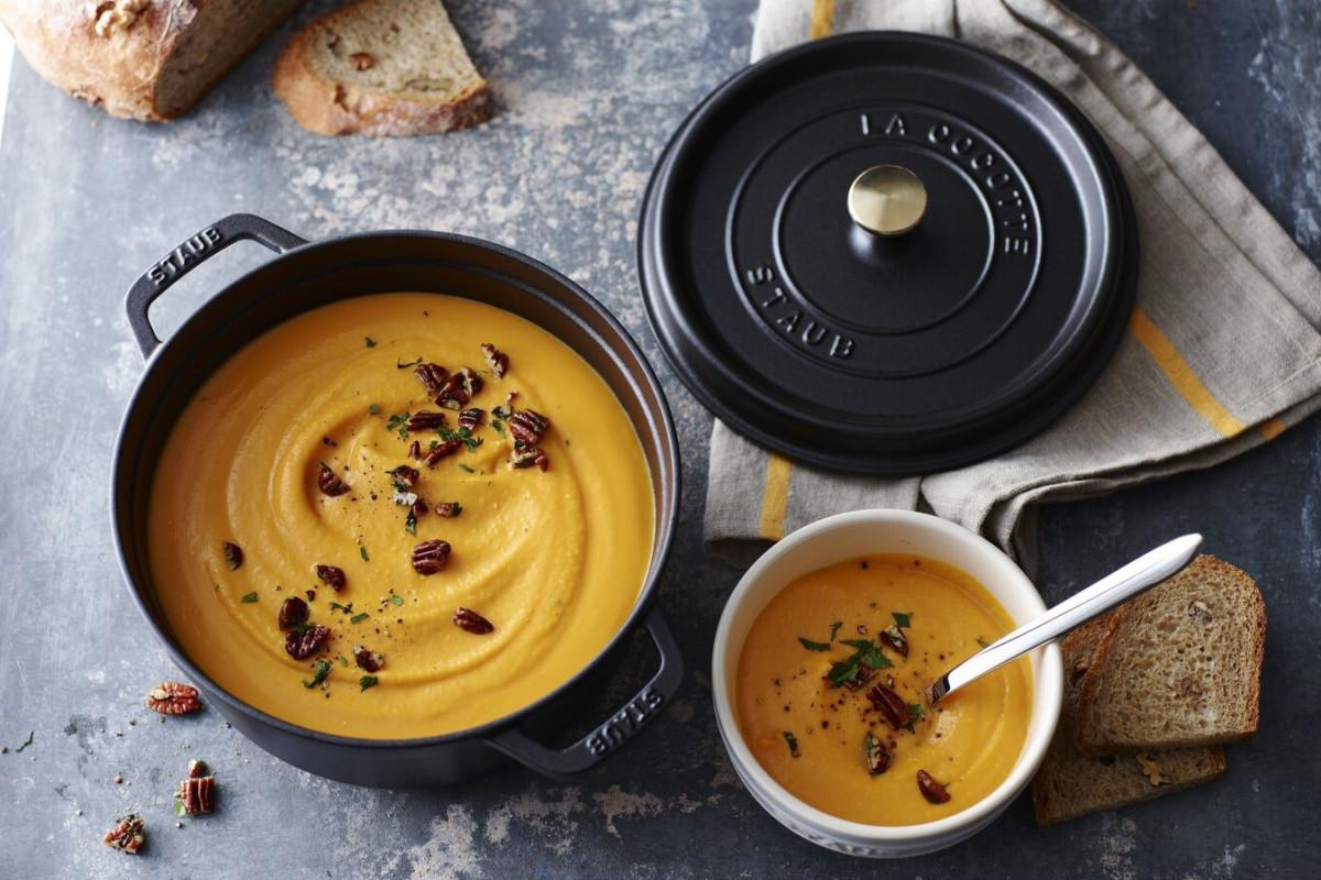 Butternut squash soup in a Staub Cocotte