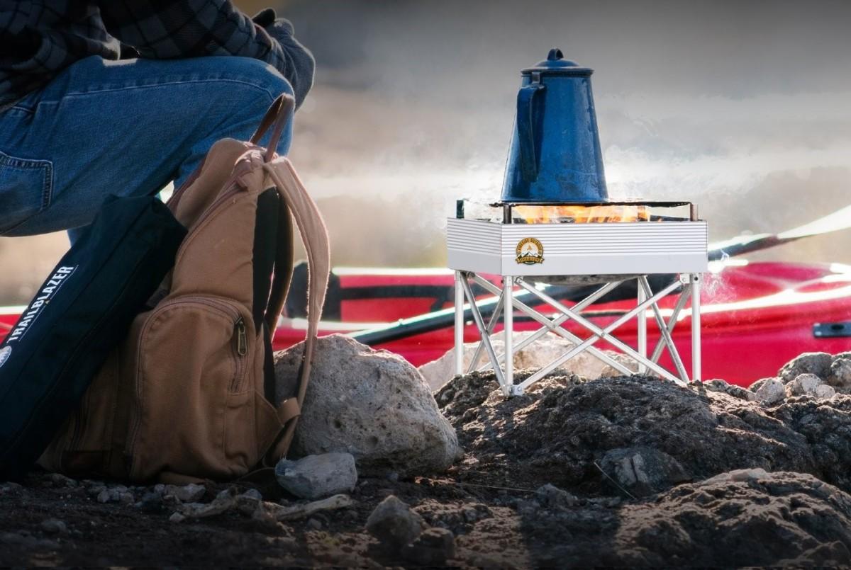 Boiling water in a tea kettle on a Fireside Outdoor Trailblazer